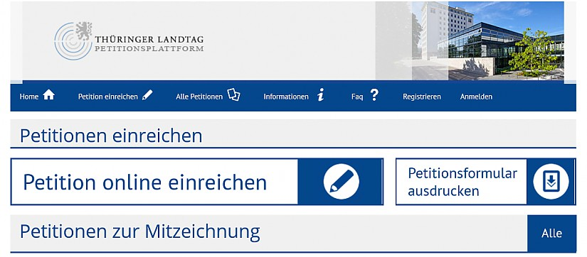 Screenshot:  Thüringer Landtag - Petitionsplattform - Startseite